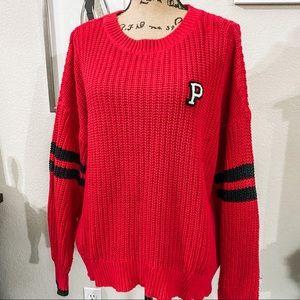 Oversized collegiate knit sweater